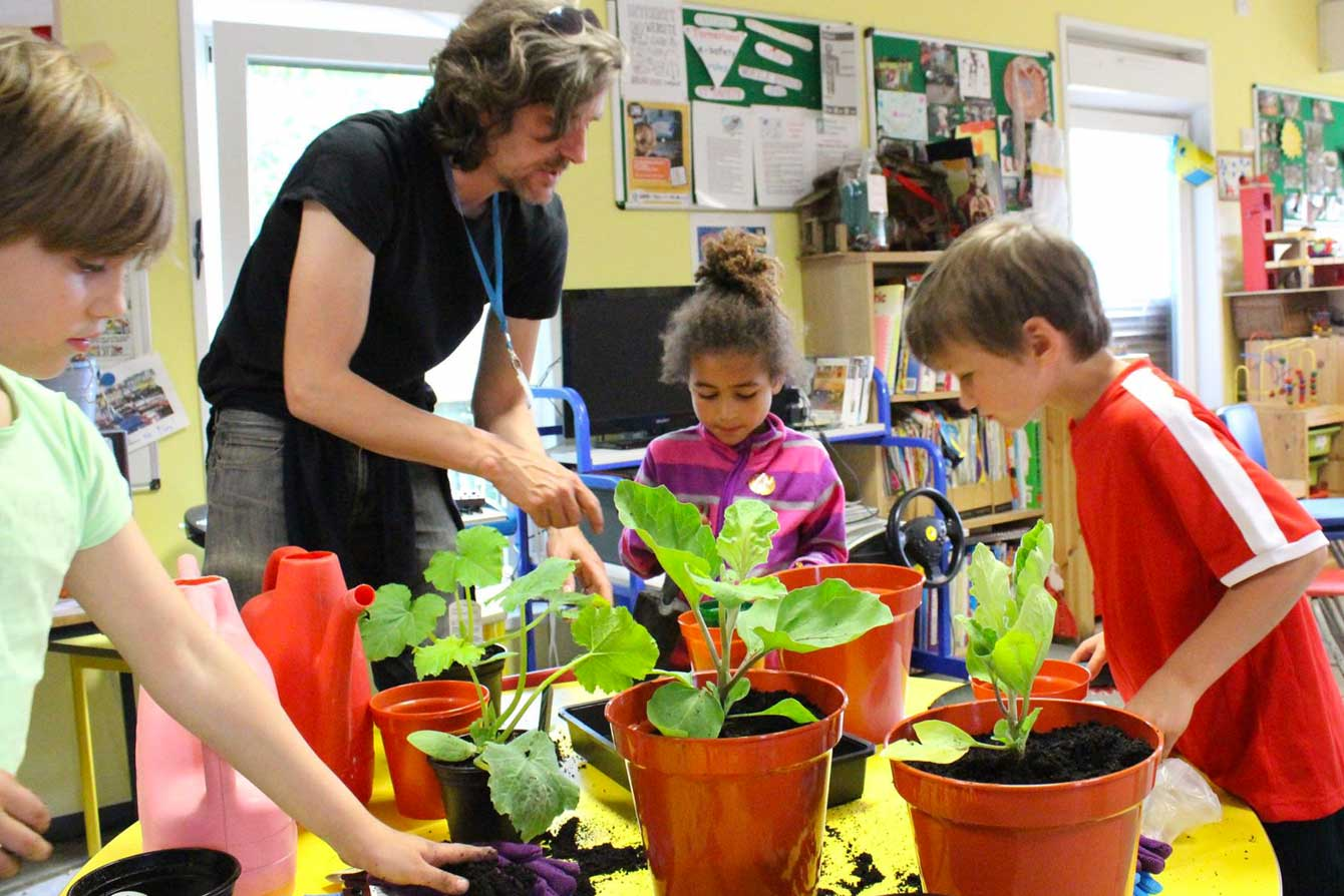 Kids in a gardening project